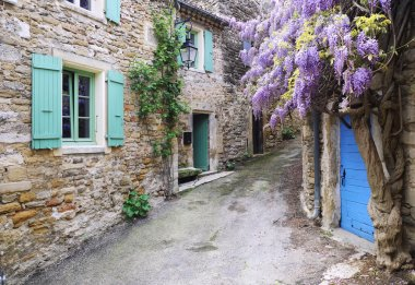 Village of Provence: cascading purple wisteria vine