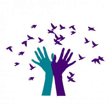 colored hands releasing a flock of birds