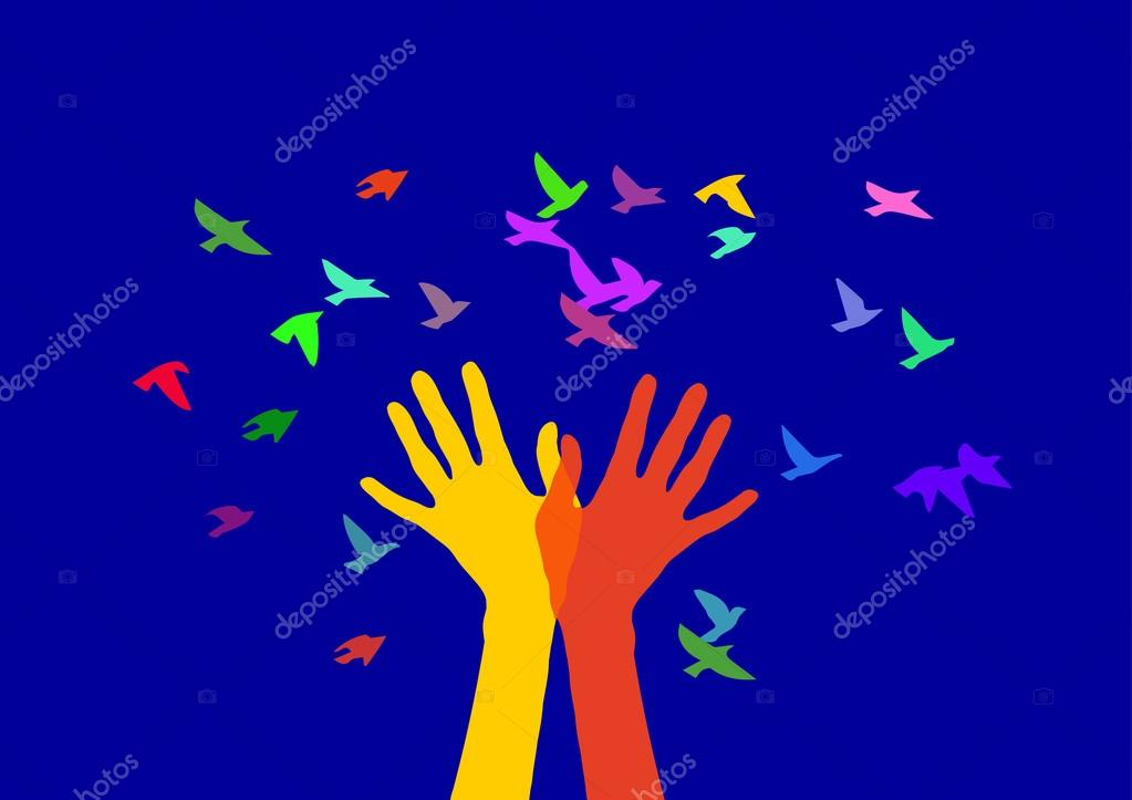 Hands and birds in color