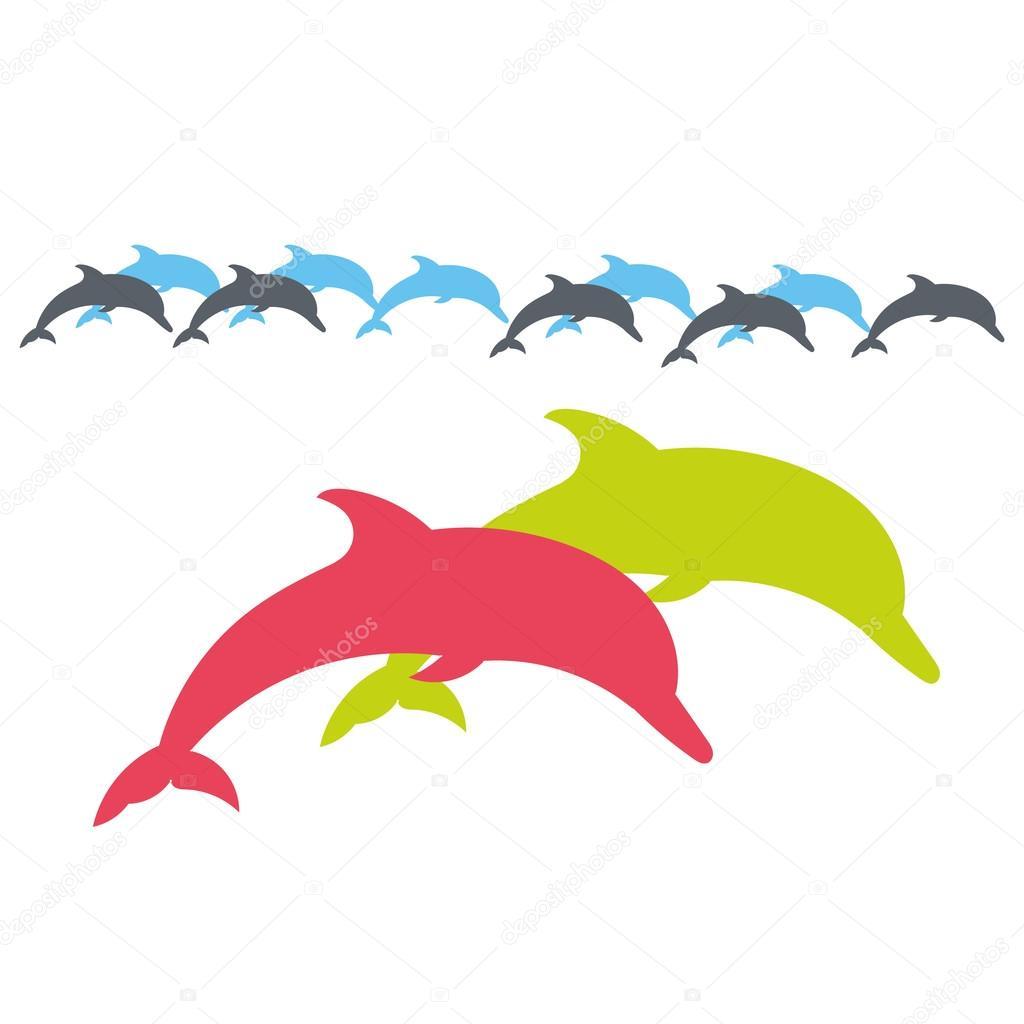 golfinho silhueta de vetor em um fundo branco vetores de stock