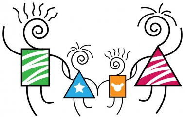 Happy family line art abstract cartoon image clip art vector