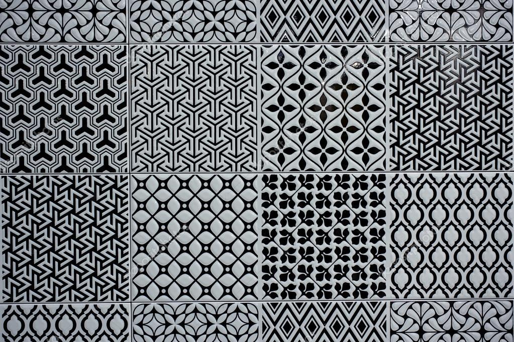 Mattonelle di pavimento d epoca in bianco e nero u foto stock