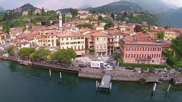 aerial view Town of Menaggio on lake Como, Milan, Italy