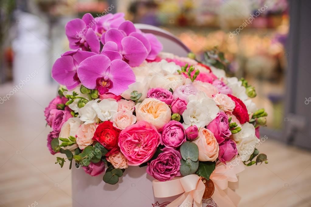 Bright Pink Flower Bouquet In Round Box With Lid Stock Photo