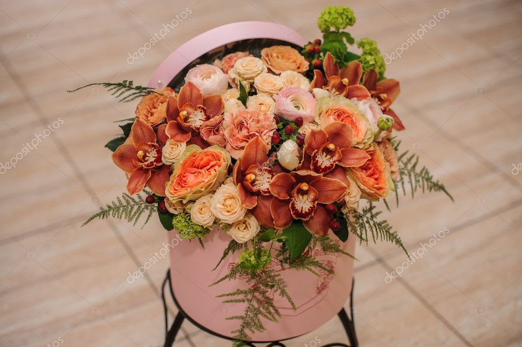 Beautiful Flower Bouquet In Round Box With Lid Stock Photo C Fesenko 106390834