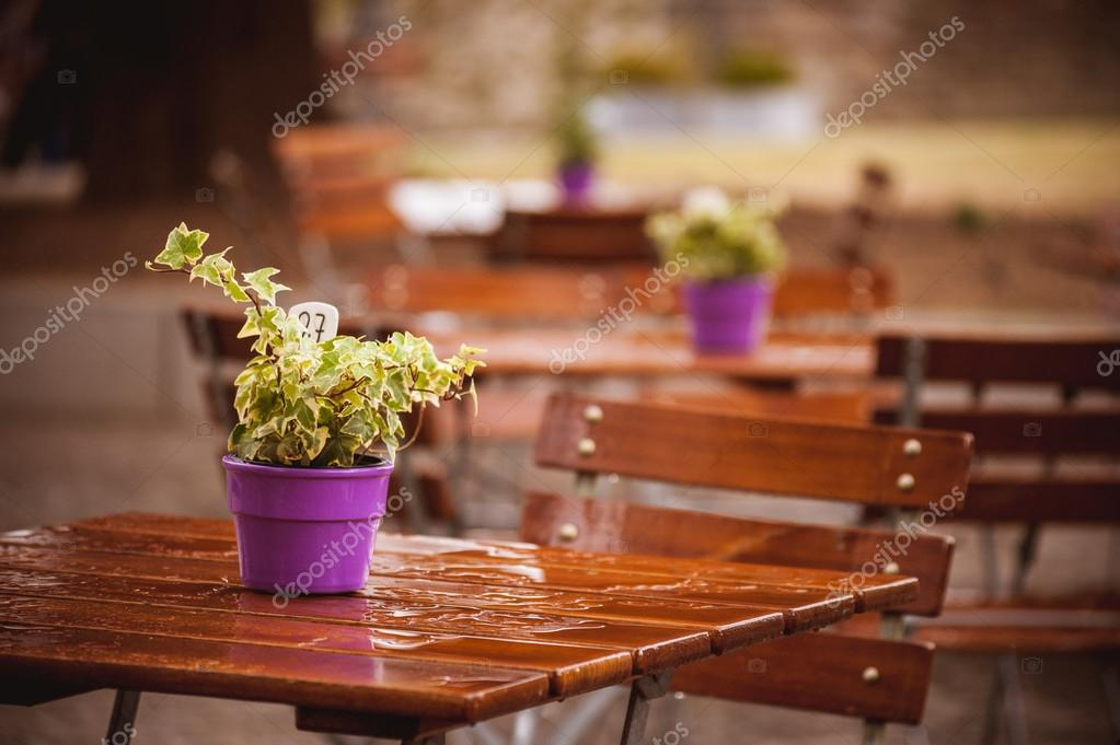 flowers on a wet cafe table after rain