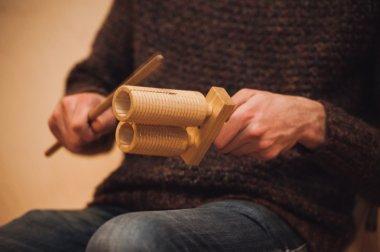 men playing wooden holz agogo