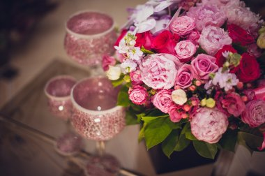 Peony and roses bright pink flowers bouquet