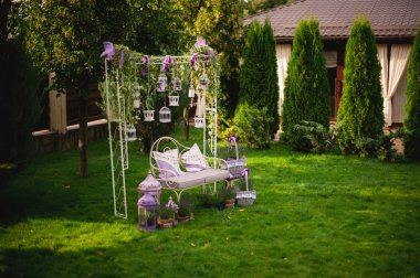 Romantic atmosphere decorated bench outdoor