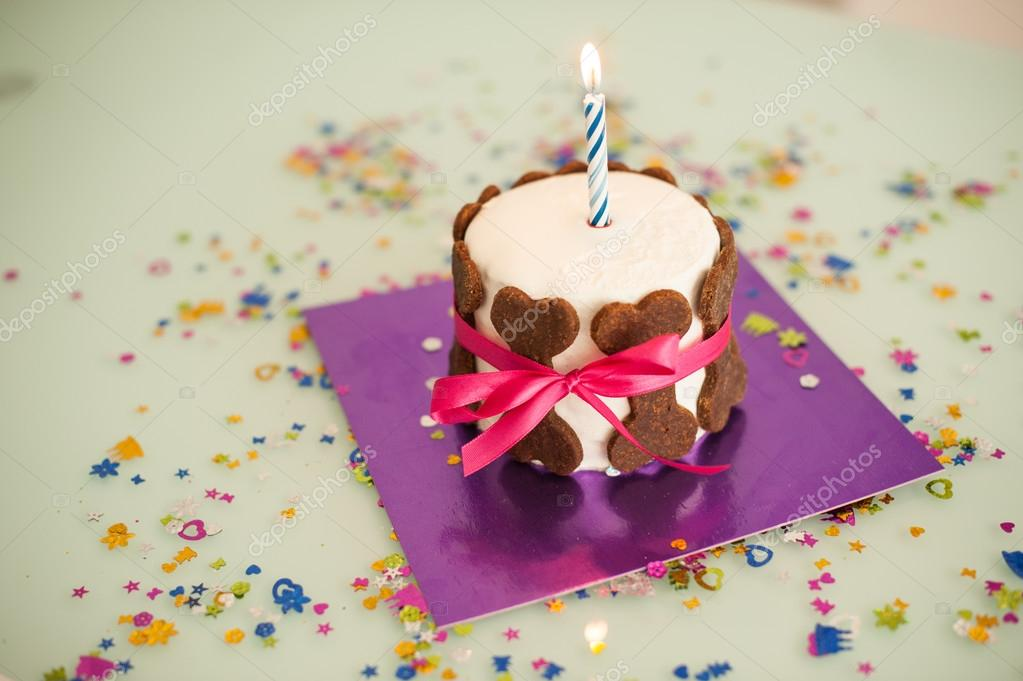 születésnapi süti kutya születésnapi torta süti csont, szalag, gyertya — Stock Fotó  születésnapi süti