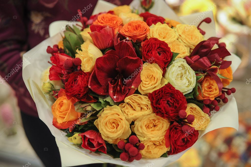 colorful bouquet  with roses. flower composition
