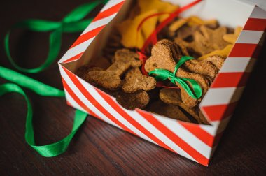 Homemade dog bones shaped cookies in open box