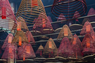 Aromatic incense is in the temple Man Mo Temple of Hong Kong to China
