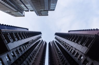Bottom view of the skyscrapers of Hong Kong (China)