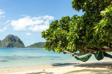 A man is reading a book in the hammock on the beach of the island of Palawan in the Philippines (El Nido)