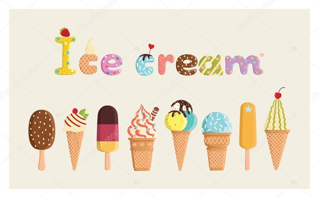 Ice cream on a beige background