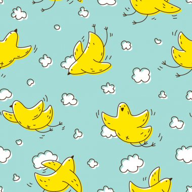 Yellow birds soaring in the clouds