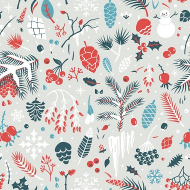 Winter pattern with leaves, pine cones