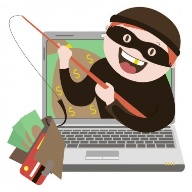 the fraudulent computer , internet thief,  vector graphics