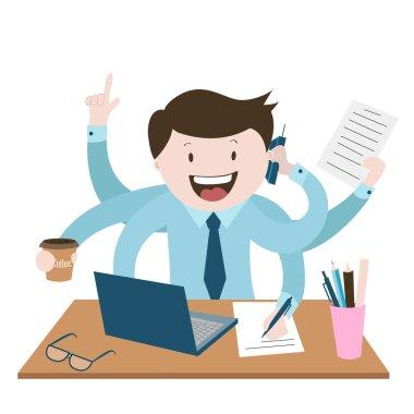 ofis çalışanı çok meşgul, en iyi işçi, iş bir sürü , vektör grafik