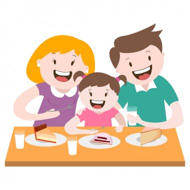 happy family , a family dinner , vector graphics