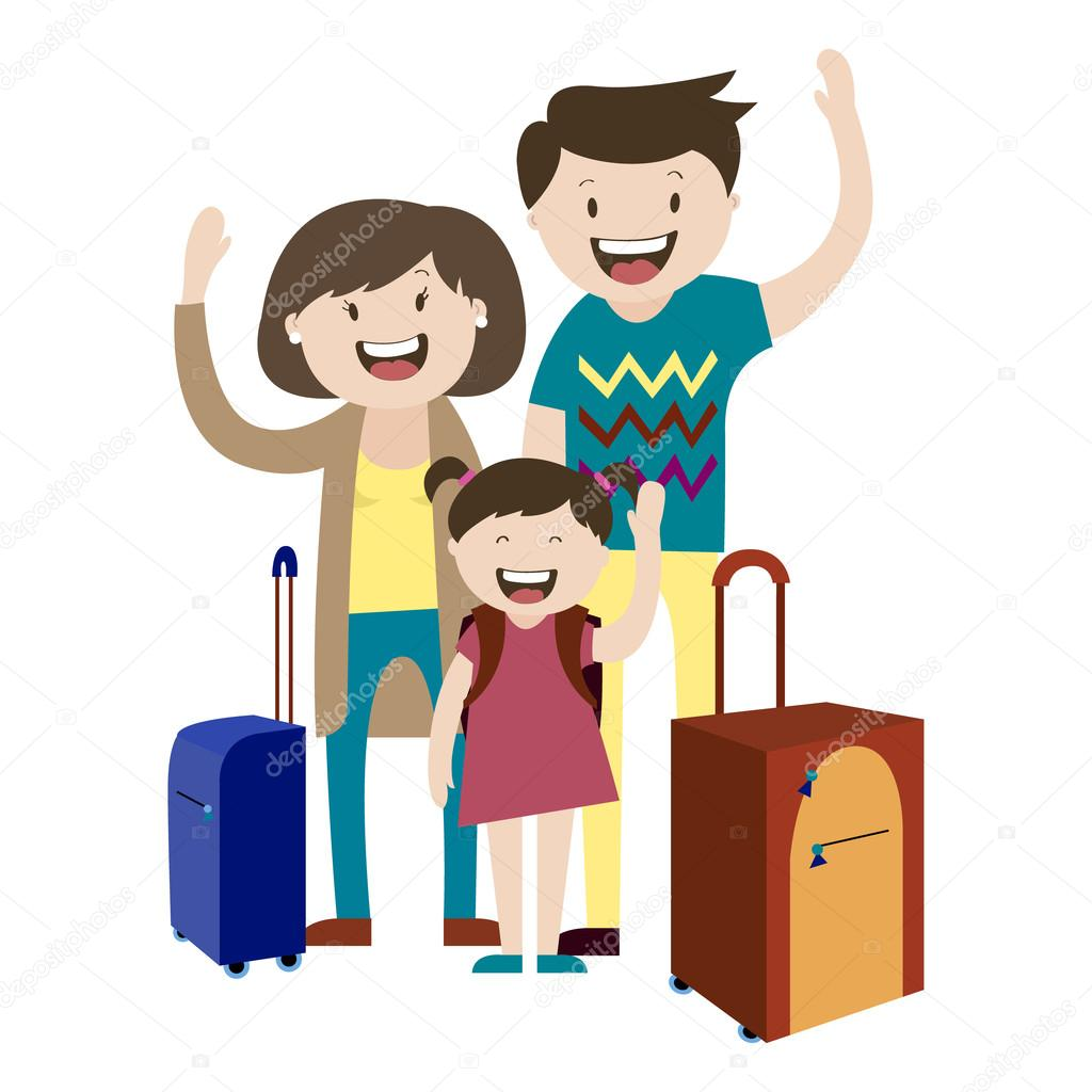 Family With Suitcases Happy Family On A Trip Vector