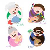 profession , chef, artist, thief , babysitting, vector graphics