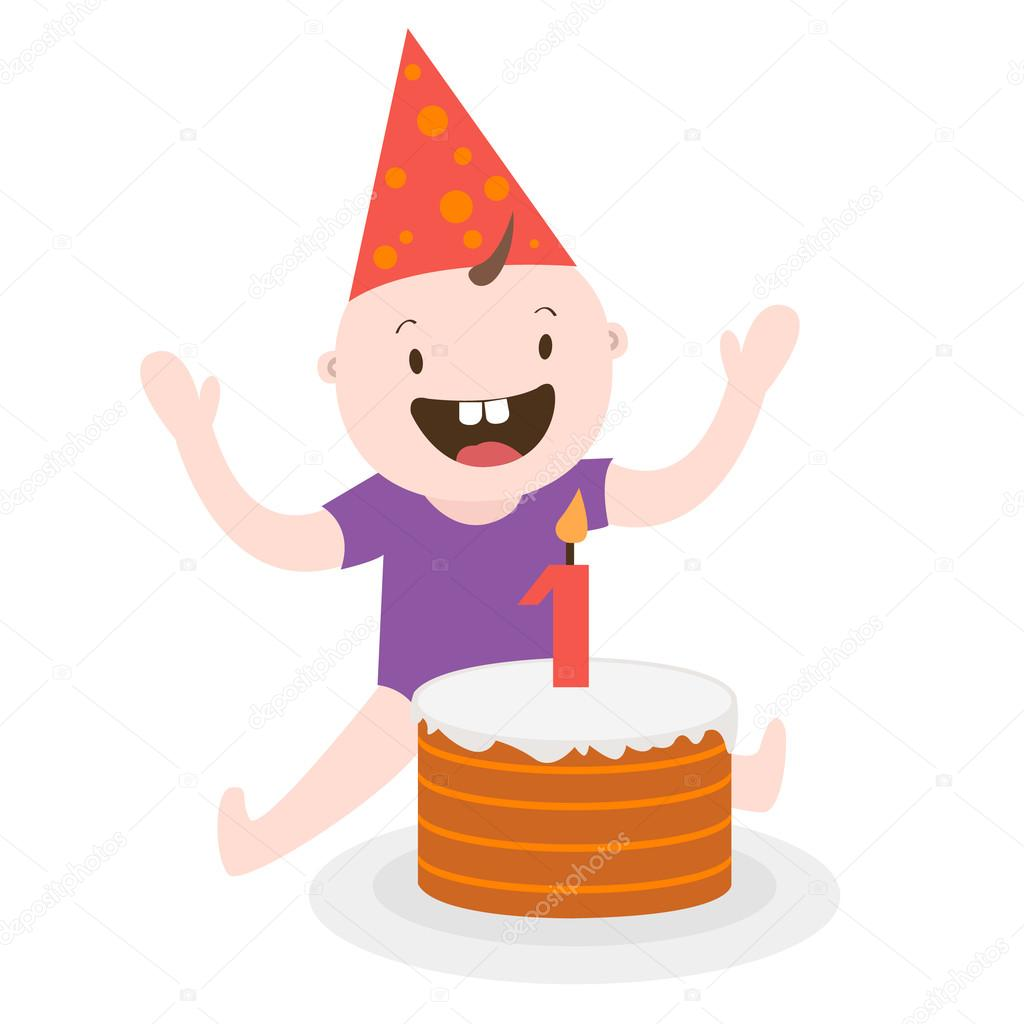 first birthday birthday cake baby vector graphics Stock