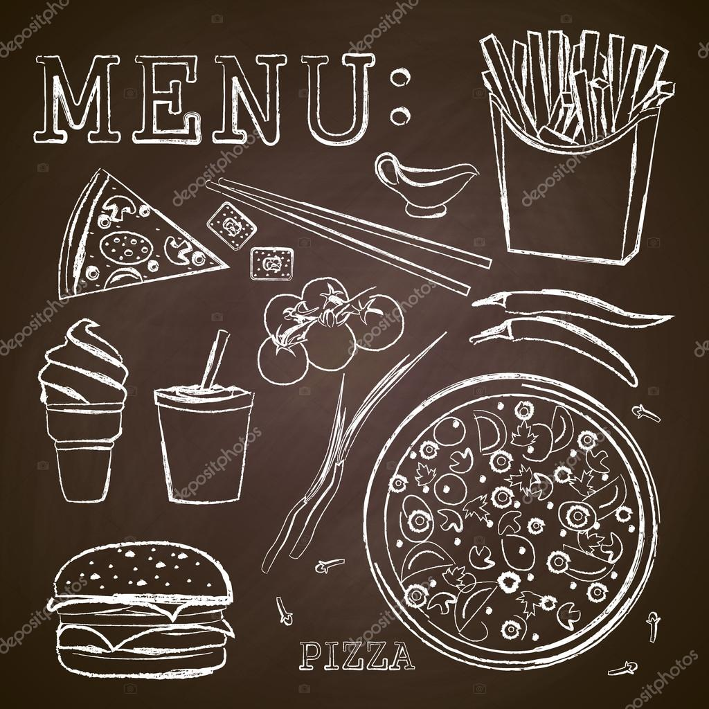 Fast food pizza menu dessin la craie sur un tableau noir vector image vectorielle irkast - Dessin a la craie ...