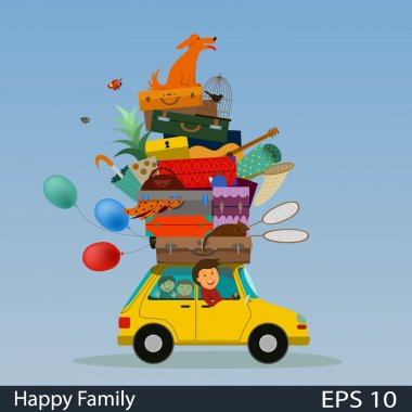 moving to a new house , a trip on vacation , the mountain of suitcases , luggage , the family travels by car , travel, vector illustration