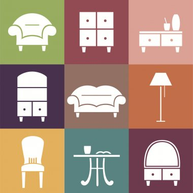 Flat vector icons. Furniture set.