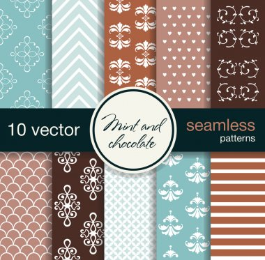 10 seamless vector patterns. Mint and chocolate shades. Beautiful twisted patterns.