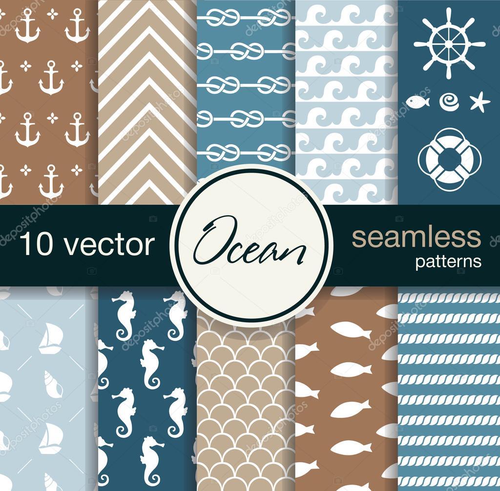 10 seamless vector patterns. Nautical theme.