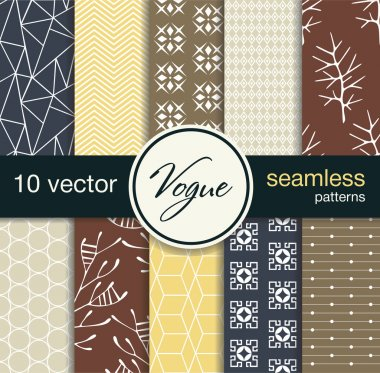 10 fashionable seamless vector patterns. Subject fashion.