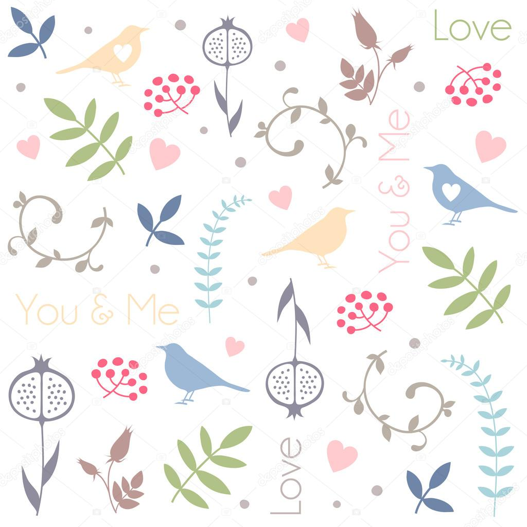 Romantic vector seamless background greeting card wallpaper vector art - Abstract Floral Pattern With Birds Hearts Leaves Of Trees Flowers And Berries Romantic Seamless Vector Pattern For Valentine S Day Or Wedding