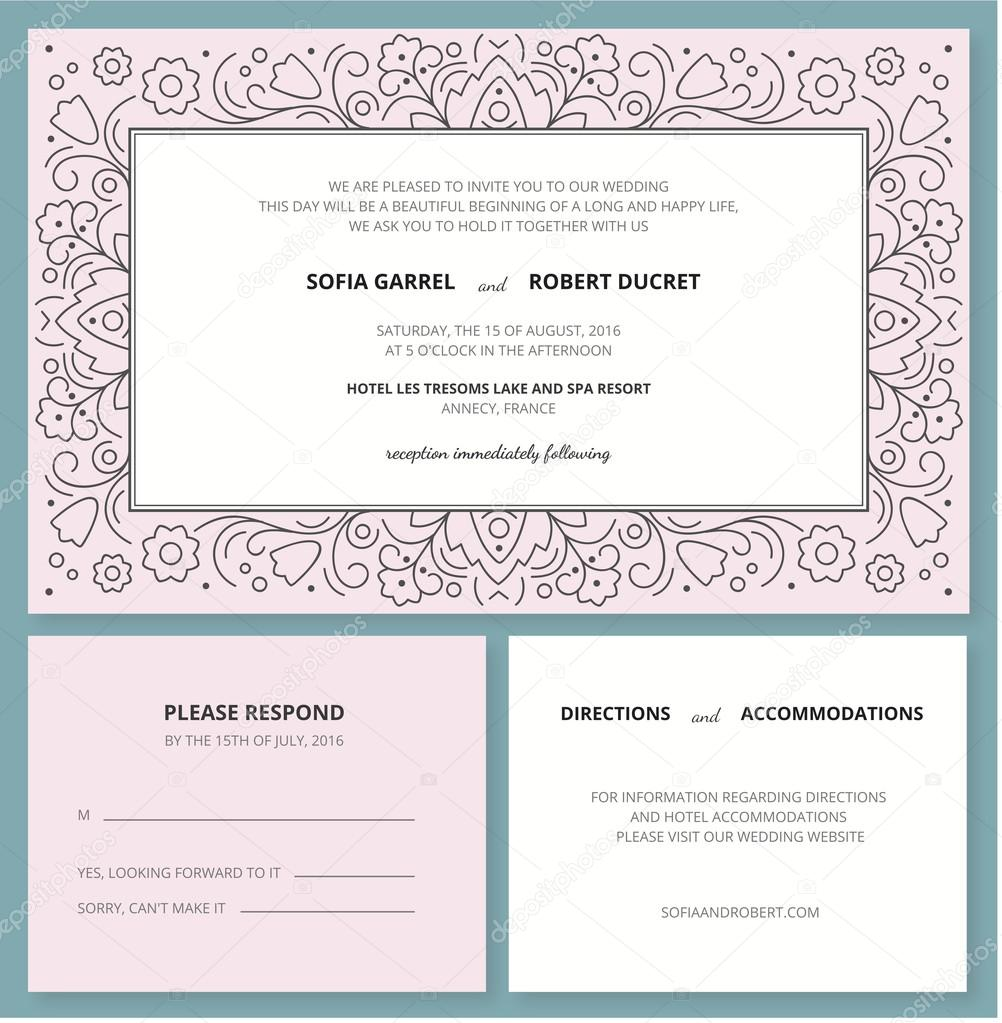 Carto de convite de casamento com um padro de estrutura de tpicos wedding invitation card with a outline pattern and rsvprprise your guests with an unusual bright trendy invitation to the most important event in stopboris Gallery