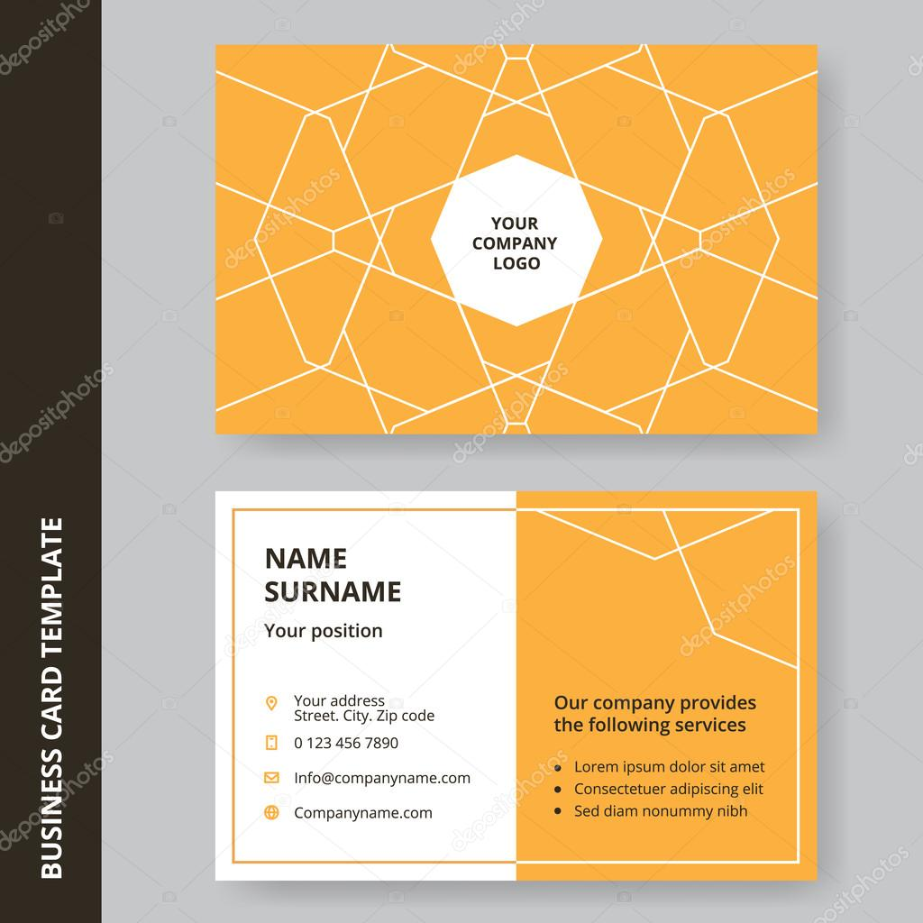 Modern yellow flat design business card with a outline pattern ...