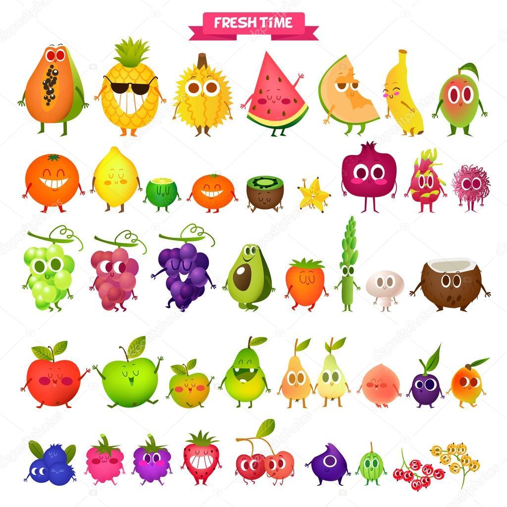 Icons fresh fruits