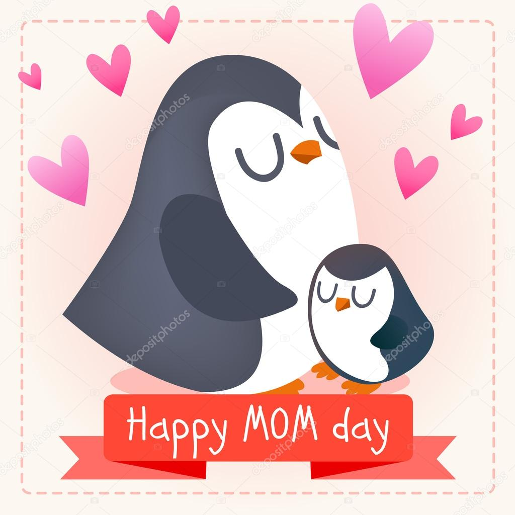 Unique Happy mother's day. Penguins. — Stock Vector © Katya_Bra #111584186 NK21