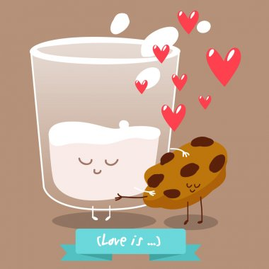 Postcard Valentine's Day. Cup of milk with pieces of cookies
