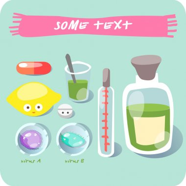 A set of objects on the common cold. Flu. vector clip art vector