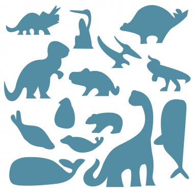 Set of  ancient animals silhouettes