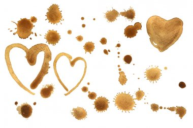 Traces of a coffee. Splashes  and hearts
