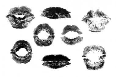 Set of black print of lips