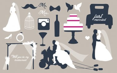 Wedding set with graphic elements