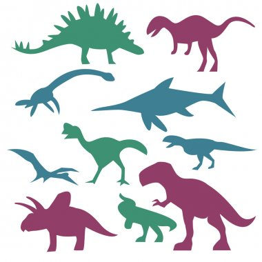 Colorful dinosaur silhouettes