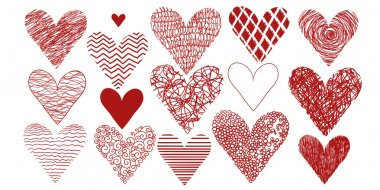 Drawing freehand pencil style. Set of the Abstract hearts.  Wedding or Valentine's template. clip art vector