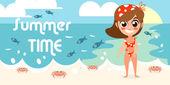 Vacanze estive con il disegno di carattere