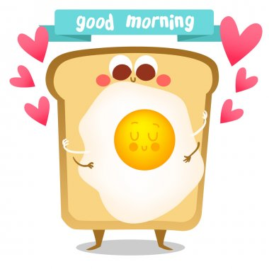 Cute breakfast:fried egg, toast. Postcard Valentine's Day. Illustration with funny characters. Love and hearts. Funny food. clip art vector