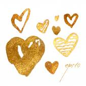 Photo glamour gold hearts set